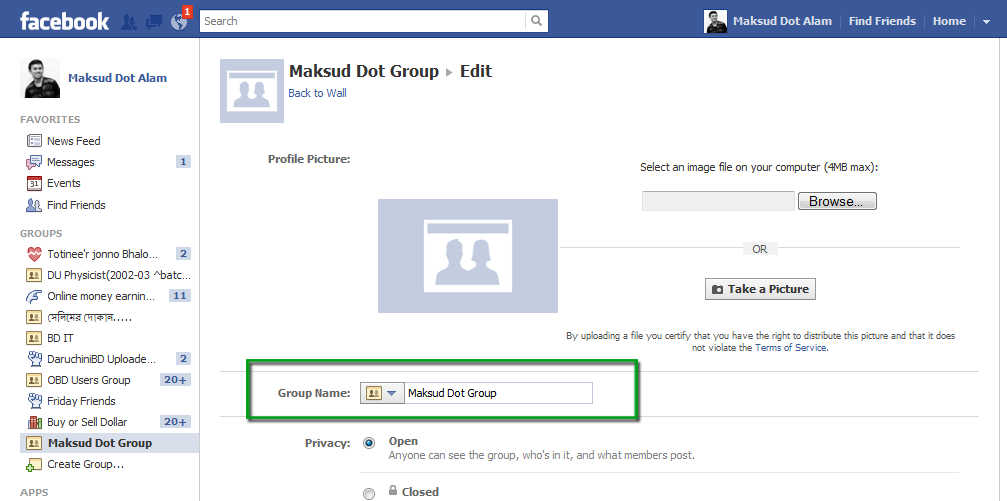 how to close facebok group