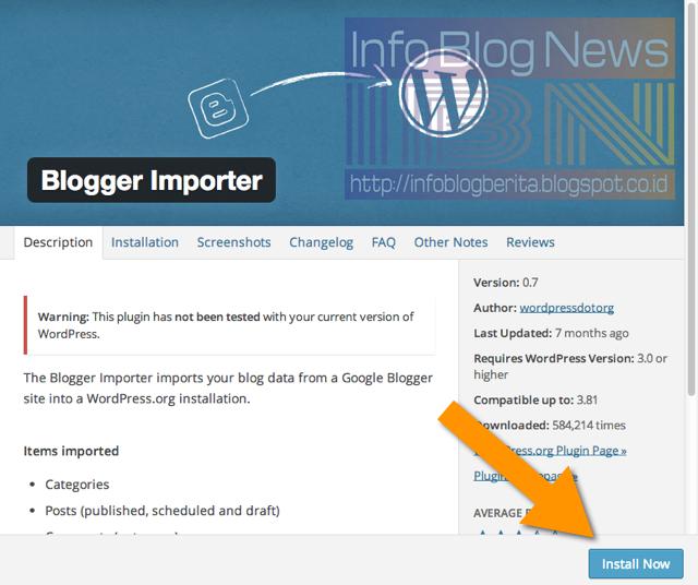 Cara Cepat dan Mudah  Impor Blogger ke WordPress