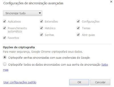 Escolha o que deseja sincronizar no Chrome