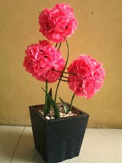 Pink flower ball (kiri) @ Rp. 65.000/set ; Tabletop bunga terompet ...