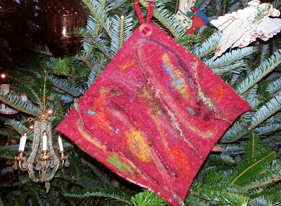 recycled felted sweater potholder with needle felted decorations