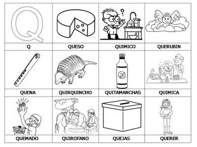 Laminas con dibujos para aprender palabras y colorear con letra: Q ...