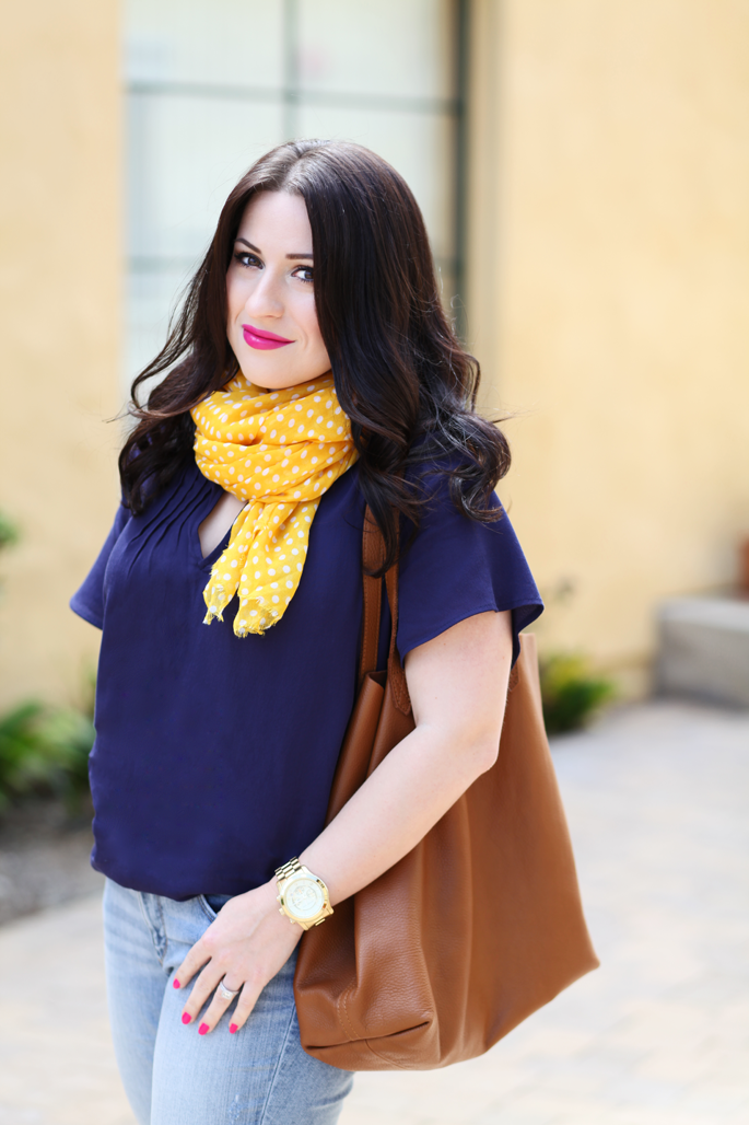 cuyana-tote-fraas-yellow-polka-dot-scarf-loft-denim-le-tote-top-mac-girl-about-town-lipstick-michael-kors-watch