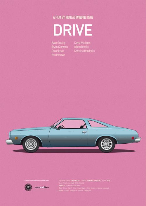 Carros famosos do cinema em posters minimalistas - Jesús Prudencio - Drive