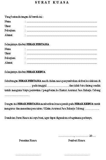 Aneka info: Contoh Surat Kuasa Pengurusan Jasa Asuransi