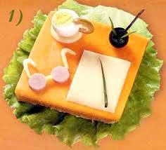 """5) """"Чернильница"""" - маслина; 6) """" Ручки"""" - перышки зеленого лука; 7) """" Салфетка"""" - листья салата."""
