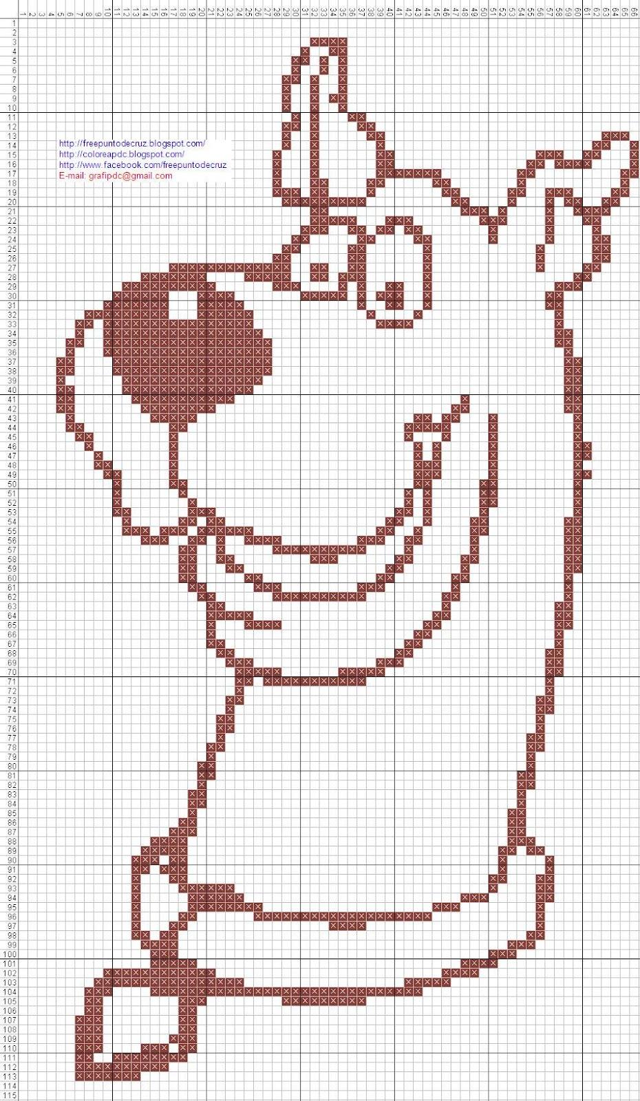 Conejo para colorear punto de cruz | Dibujos en patrones punto de ...