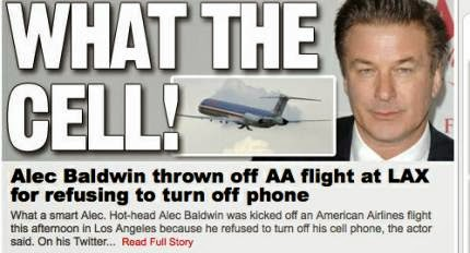 Alec Baldwin, Josh Wieder, cell phone, airport, airplane, headline