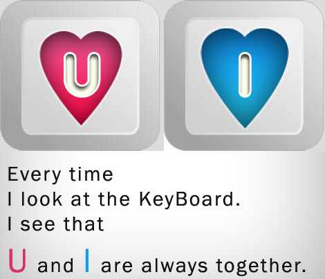 ... at the key board i see that u and i are always together i love you