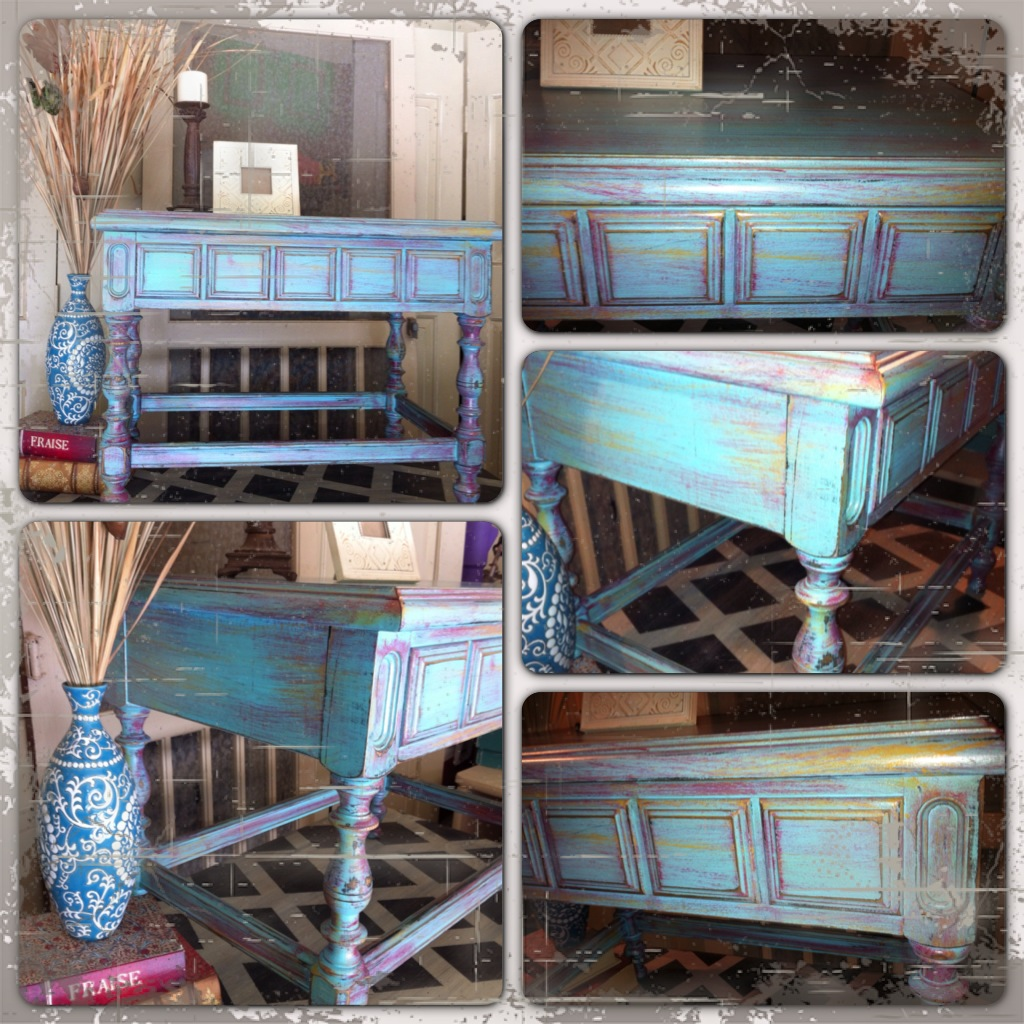 Furniture by MK Designs Distressed turquoise side table