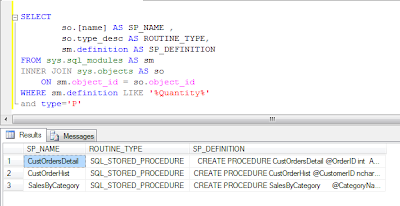 Sql Query for Search in Stored Procedures