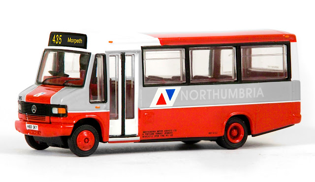 EFE 24822 - Plaxton Minibus - Northumbria This Plaxton Minibus continues to build our popular and colourful fleet of  Northumbria models. Registered H801 SKY, fleet number 962 operates route 435 to Morpeth, just off of the A1 in Northumberland. RRP £32.50