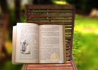 Foto de libros abiertos en una banca