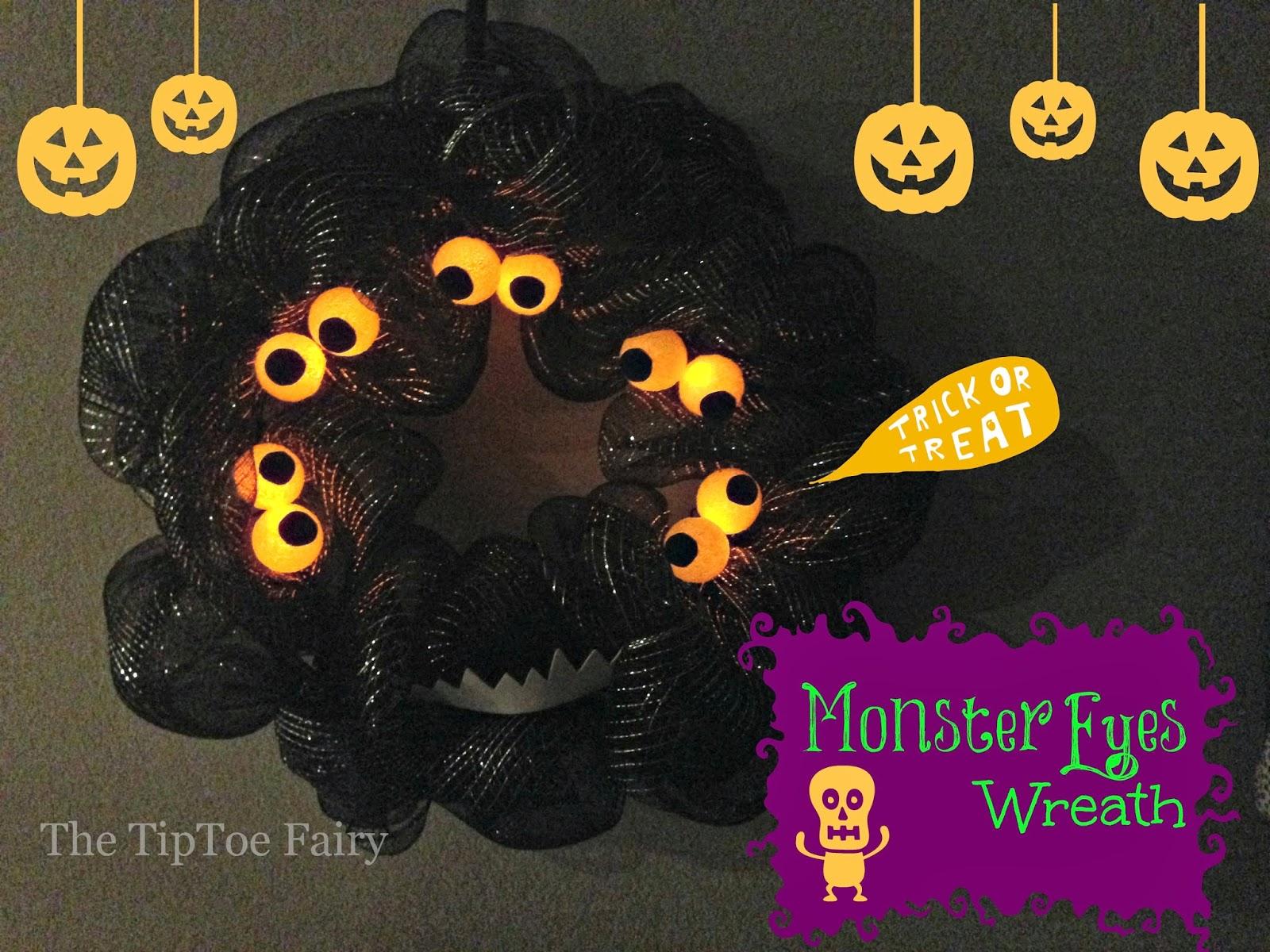 Diy halloween monster eyes wreath the tiptoe fairy diy halloween monster eyes wreath rubansaba