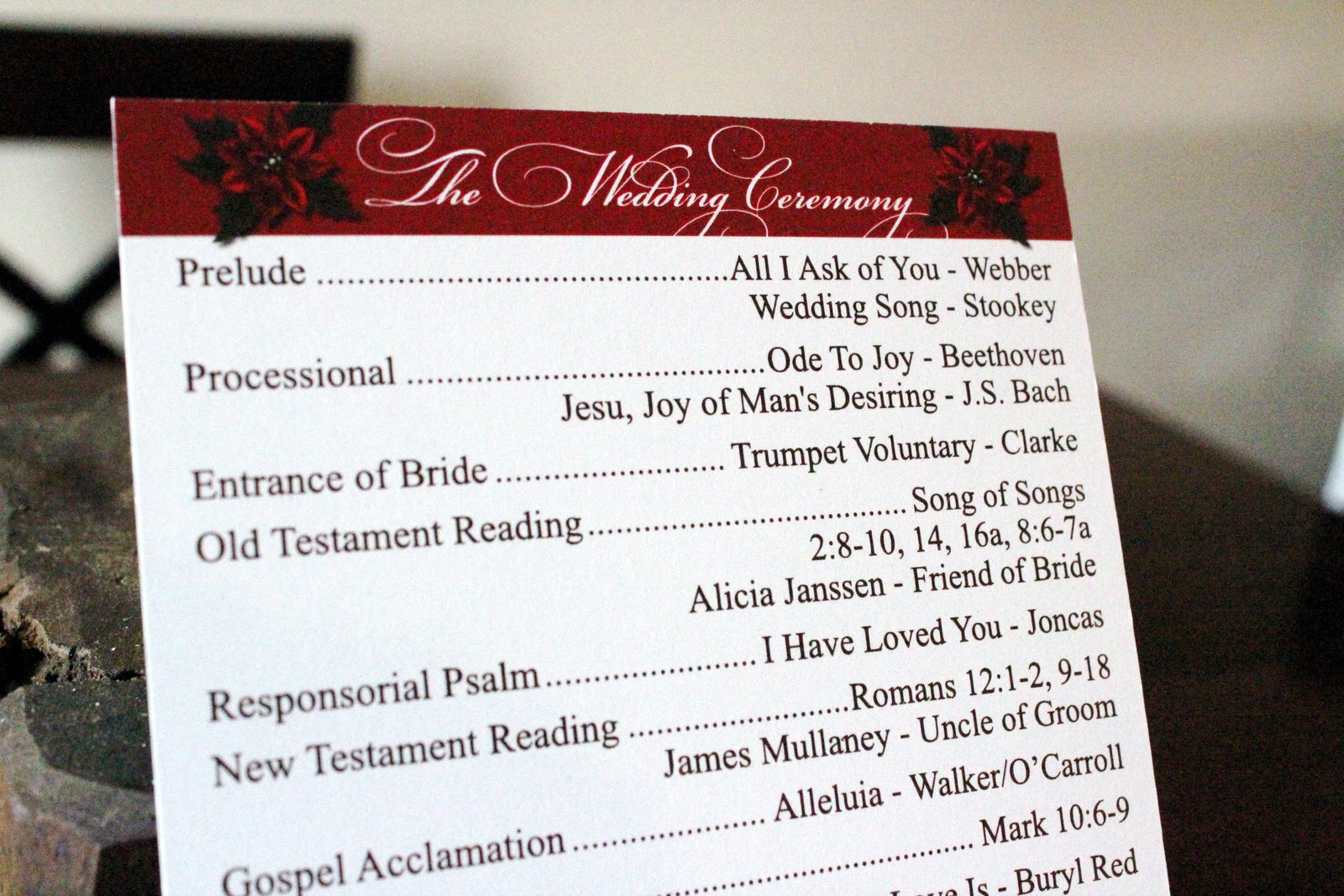 ek designs christmas wedding program illinois
