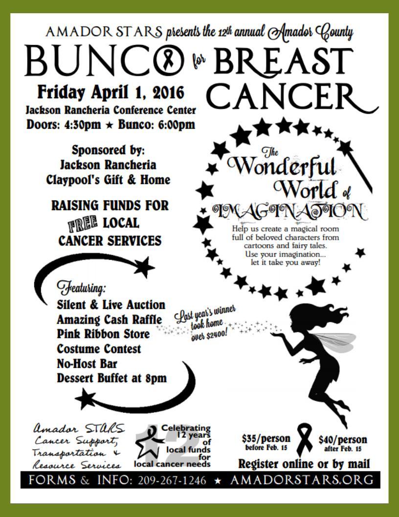 12th Annual Bunco for Breast Cancer - April 1