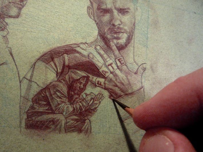 Dominic Monaghan as Charlie Pace, Lost sketch Card © 2012 Jeff Lafferty