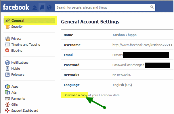 facebook general settings