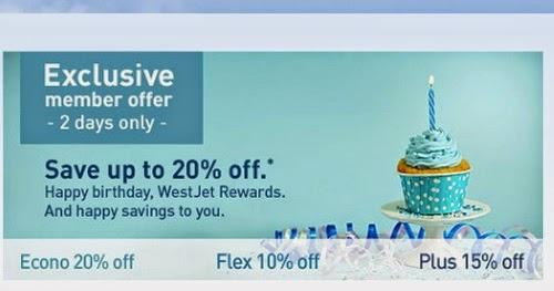 Westjet discount coupons