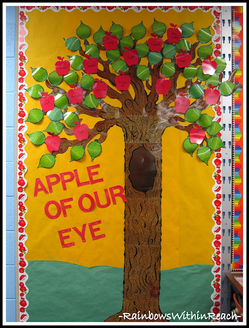 Bulletin Board Apple of our Eye (Back to School Bulletin Board RoundUP via RainbowsWithinReach)