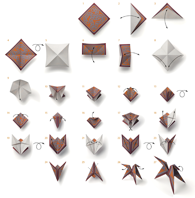 Diagram by Hermes for folding the Hermes Champ libre origami scented horse