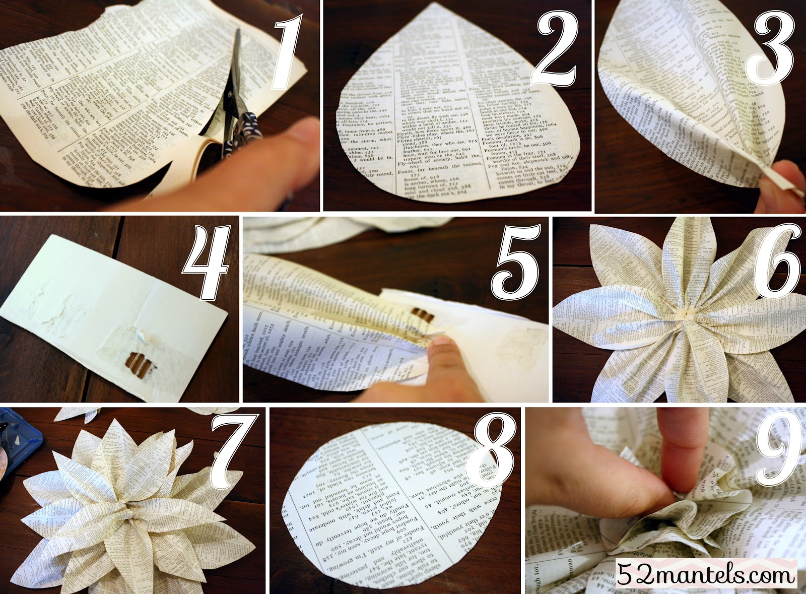 Image Gallery Old Book Paper Flowers