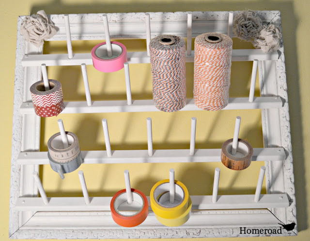 Easy to make AND pretty picture frame washi tape and twine organizer, by Homeroad, featured on I Love That Junk