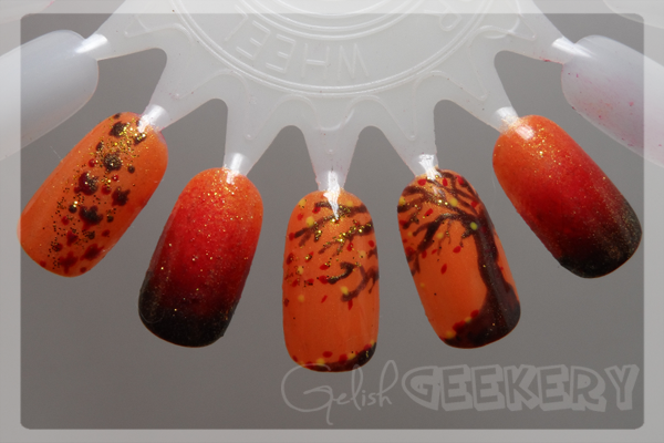 Gelish 31 Day Nail Art Challenge - Day 2: Orange - Fall gradient, leaves, and tree