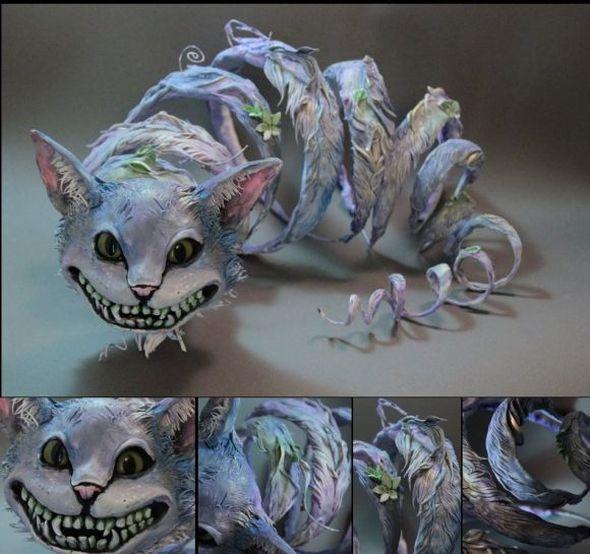 Ellen Jewett CreaturesFromEl deviantart esculturas surreais mixed animais Gato de Cheshire
