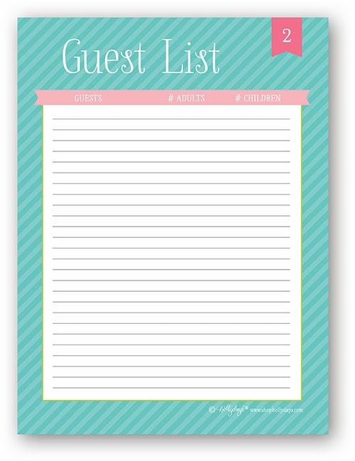 Doc.#600734: Party Guest List Template – 10 Party Guest List