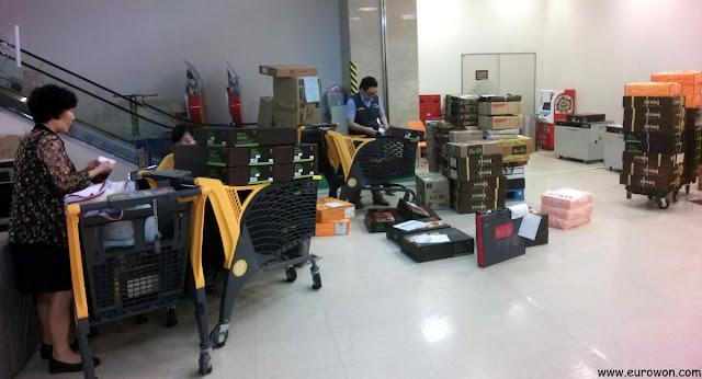 Envío de paquetes de Chuseok en un supermercado coreano