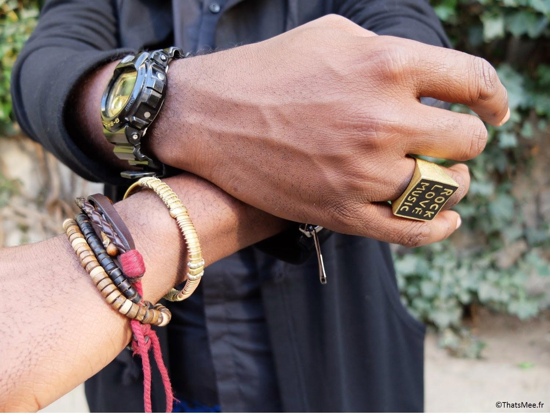 Marvin style accumulation bracelets cuivre perles bois  H&M hommes, bague hommes I love remix