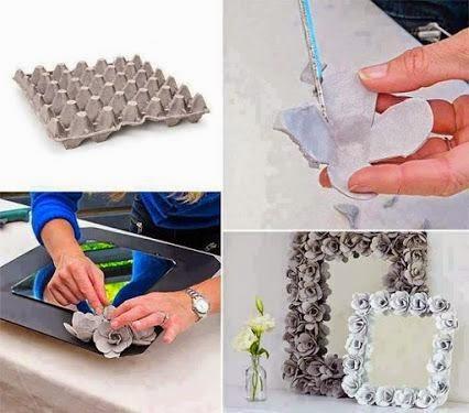 DIY: Marco de Espejo de Flores con cartón de huevos