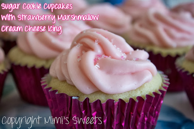 Sugar Cookie Cupcakes with Strawberry Marshmallow Cream Cheese Icing