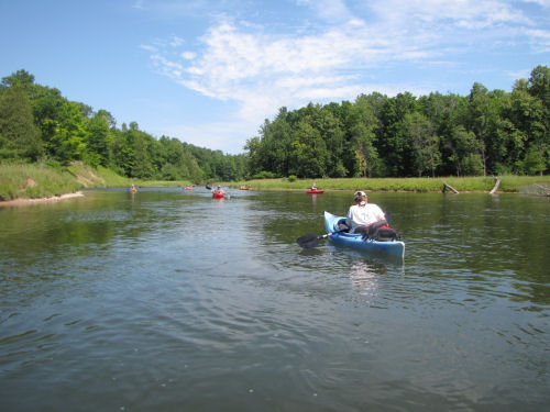 kayaks in Manistee River
