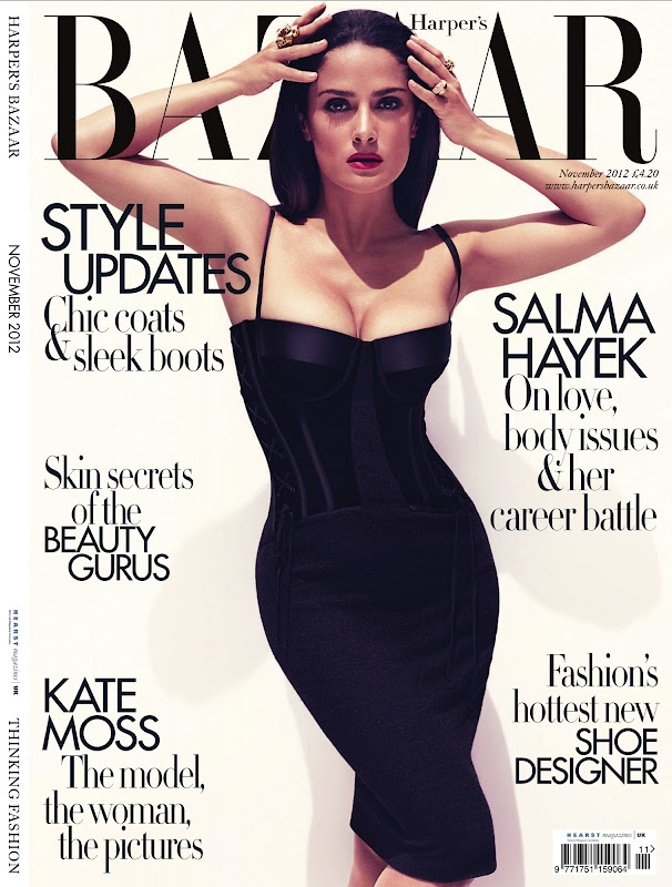 Salma Hayek strikes a fierce pose in a  black dress for the cover of  Harper's Bazaar UK November 2012 Issue