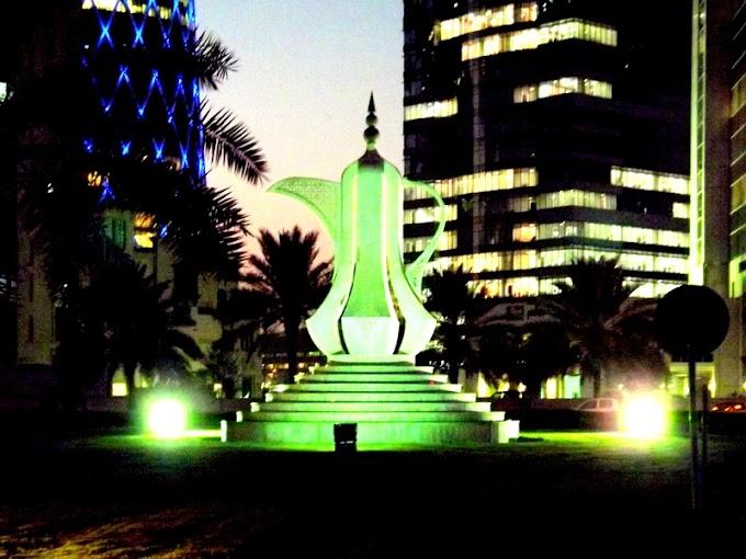 Doha downtown at nigh-Skyline of Downtown and Diplomatic Area Qatar