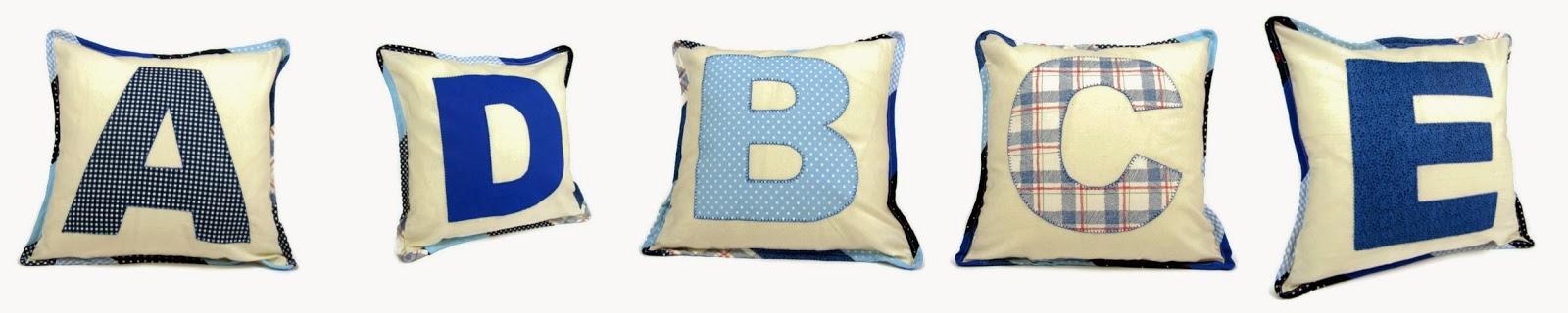 Blue monogram pillows ByElsieB