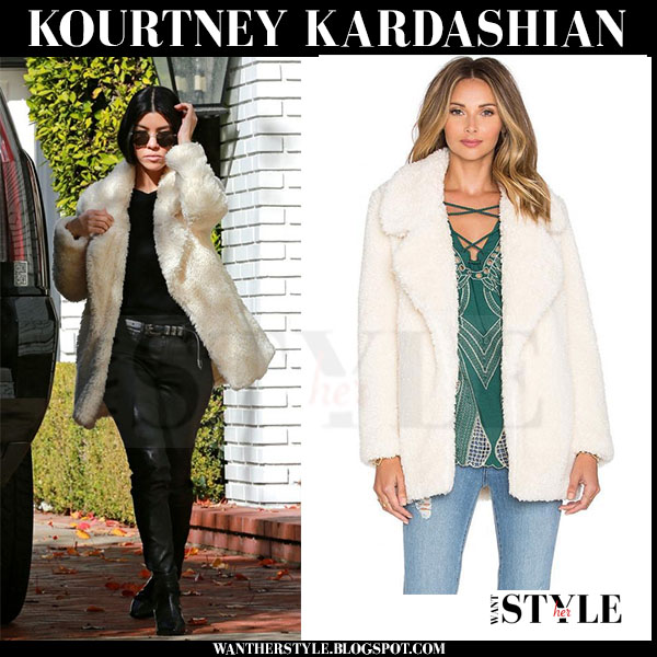 Kourtney Kardashian in cream fluffy faux fur tularosa violet jacket and black leather rta ryder pants  what she wore