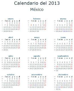 Calendario 2013 México feriados fiestas