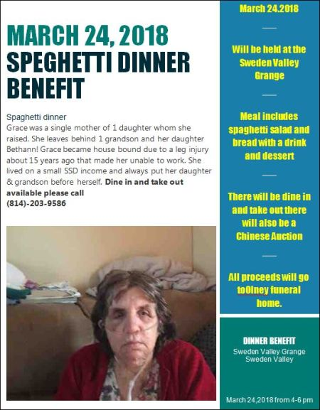 3-24 Spaghetti Dinner Benefit