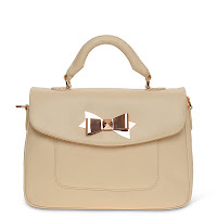 Mayson Bow Clasp Tote Bag In Beige