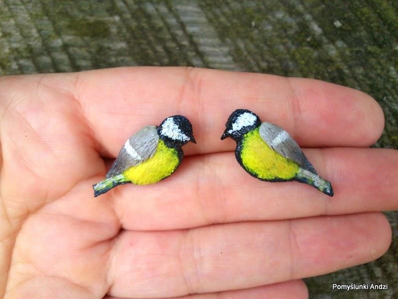 birds, ptaki, sikorki, kolczyki, earrings,