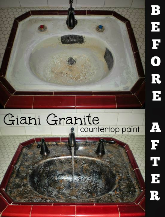 Countertop Paint Red : Simply DIY: Sink Basin Makeover with Giani Granite Countertop Paint
