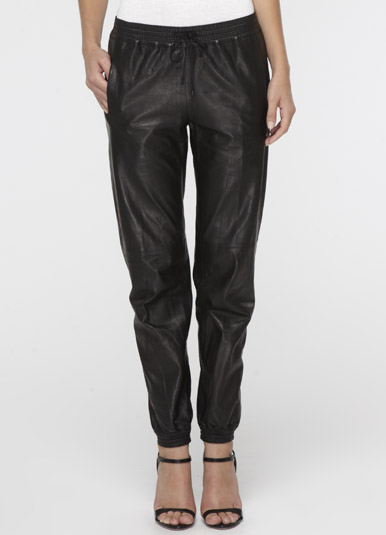 Wonderful Home  Faux Leather Jogger Pants With Drawstring Plus Sizes Available