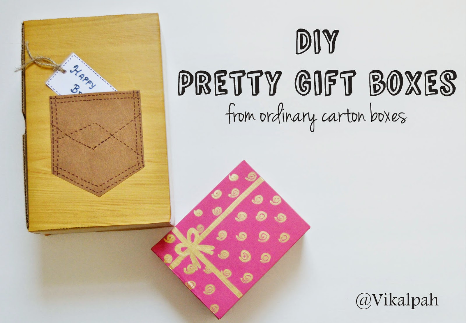 Vikalpah diy pretty gift boxes for wood grain gift box carton box it can be any box any i mean from christmas light box to shipping box contact paper or scrapbook paper negle Images