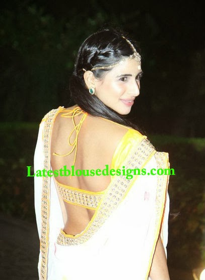deep back neck blouse