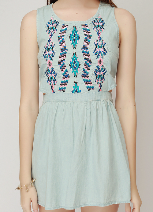 Side Cut Out Aztec Embroidered Dress