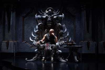 Vin Diesel on a throne in Riddick