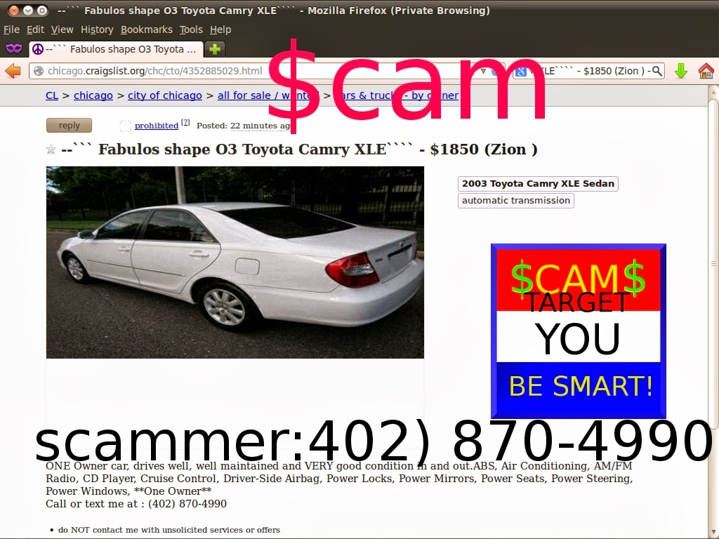 Craigslist Scam Ads Detected 02 27 2014 Update 2 Vehicle Scams